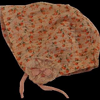Vintage Doll Bonnet, Vintage Floral Cotton Print Doll Bonnet, Lace Rosettes
