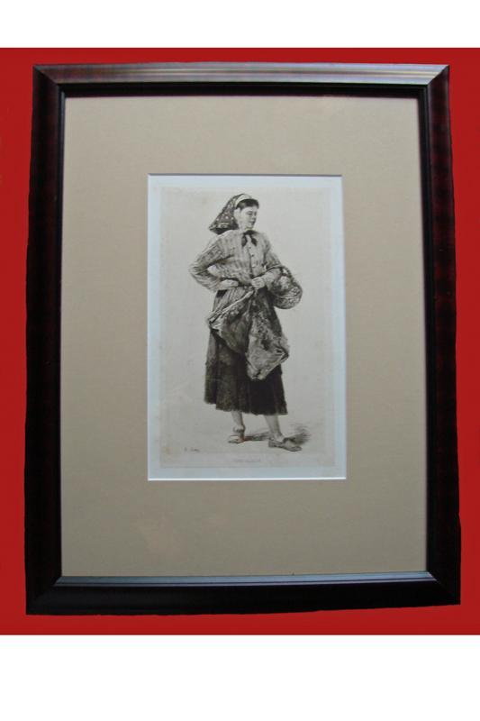 La Cancalaise,Woman With A Basket, Antique Adolphe Lalauze Etching