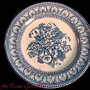 J.F.W. Foley Potteries Blue and White Staffordshire Plate - Floral