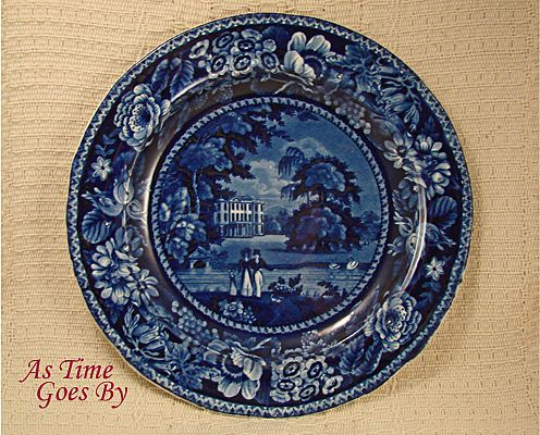 Romantic Staffordshire Flow Blue or Blue Lamp; White Transfer Picturesque Scenery Dinner Plate - Llanarth Court - R. Hall