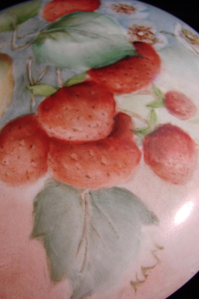 Strawberry Hand Painted Porcelain Lidded Powder Jar