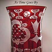 Egermann Royal Ruby Cut & Etched Vase