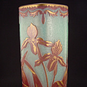 Art Nouveau Iris Vase - Cased Glass