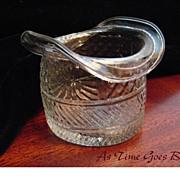 Blown Three Mold American Flint Glass Hat With Sunburst Pattern