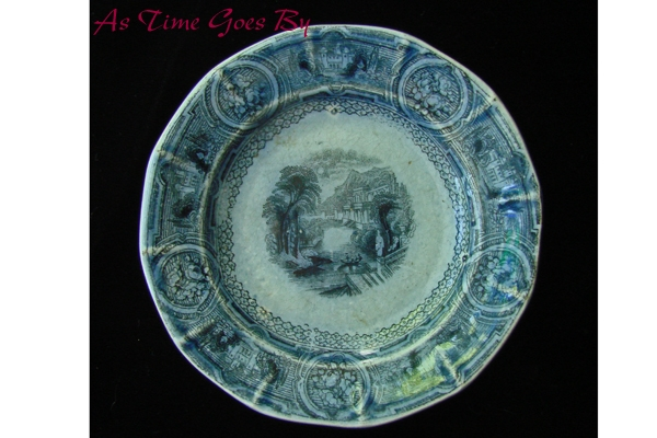 Romantic Staffordshire Blue & White Cup Plate - Podmore,Walker & Co