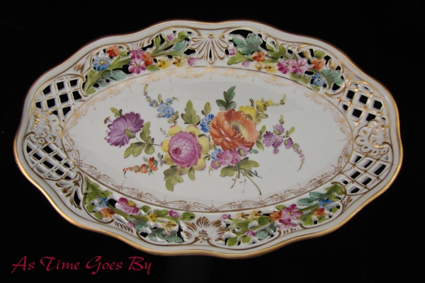 Carl Thieme Hand Painted Dresden Flowers Reticulated Oval Platter