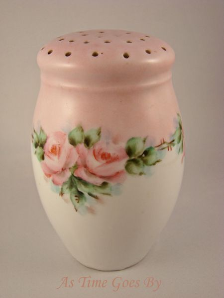 Antique Porcelain Muffineer with Handpainted Roses