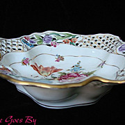 Fancy Reticulated Dresden Flowers Gilded Porcelain Bowl or Basket