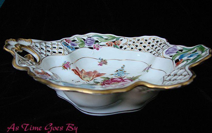 Fancy Reticulated Dresden Flowers Gilded Porcelain Bowl or Basket