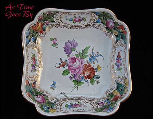 Carl Thieme Hand Painted Dresden Saxony Square Reticulated Bowl