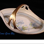 Hand Painted Forgetmenot Handled Porcelain Bon Bon Dish, German