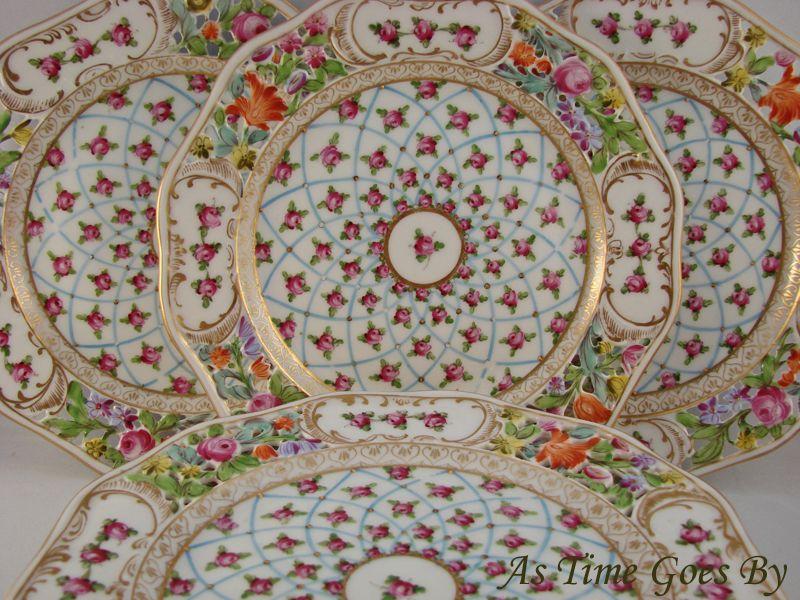 Opulently Hand Decorated Dresden Dessert Dish - Set of 8 - Thieme