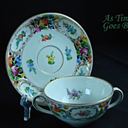 Dresden Hand Painted Bouillon Cup and Saucer - Thieme