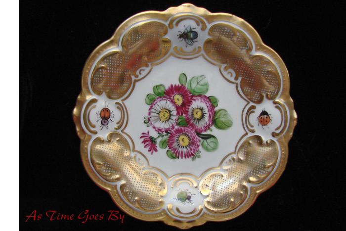 Hand Painted, Signed, Tirschenreuth Plate with Bugs and Flowers