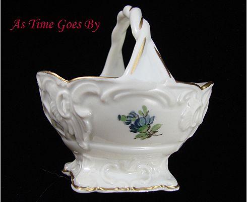 Hand Painted Dresden Flower Porcelain Mint Basket - Thieme