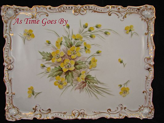 Hand Painted Dresden Flower Porcelain Dresser Tray - Klemm