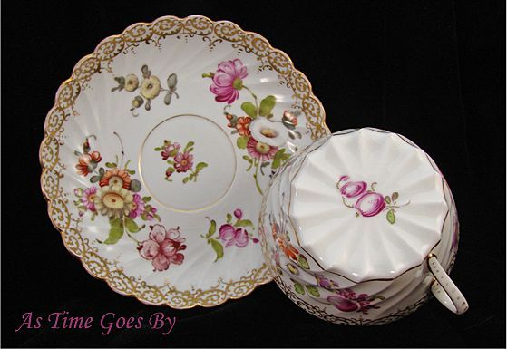Hand Painted Dresden Flower Porcelain Breakfast Cup and Saucer