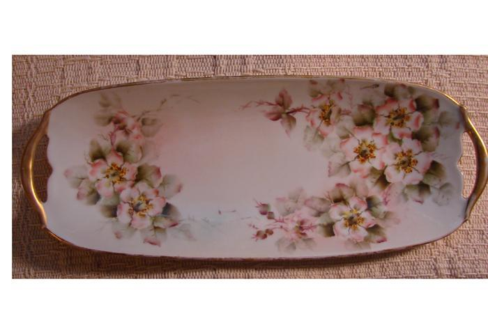 Hand Painted Edwardian Era Limoges Porcelain Berry Spoon Holder or Celery Dish, Moss Roses