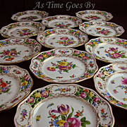 Set of 12 Hand Painted and Reticulated Dresden Flower Dessert Plates - Thieme