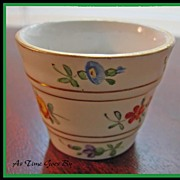 Rare Hand Painted German Porcelain Miniature Flower Pot - Dresden Flowers