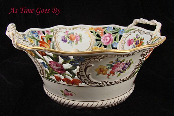 Hand Painted Dresden Flower Reticulated Centerpiece Bowl - Thieme
