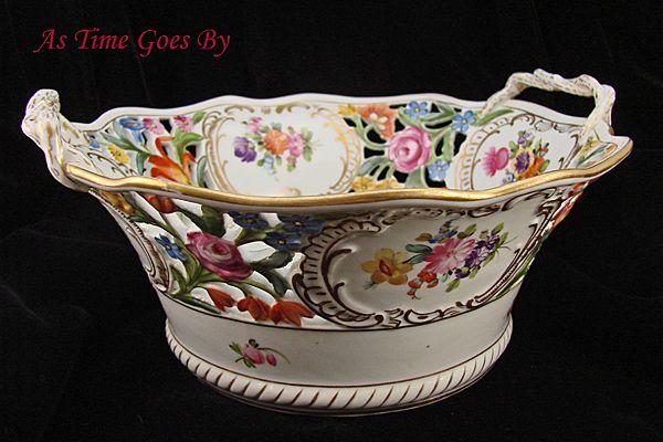 Hand Painted Dresden Flower Reticulated Centerpiece Bowl - Thieme