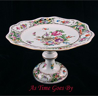 Hand Painted Saxony Dresden Flower Tazza - Thieme