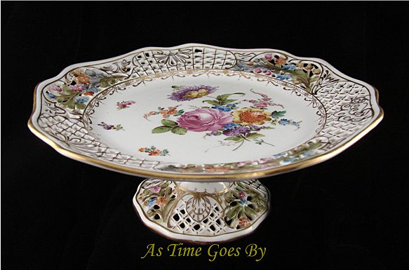 Hand Painted Dresden Flower Reticulated Tazza - Thieme
