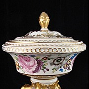 Hand Painted Dresden Flower Porcelain Footed Box - Thieme