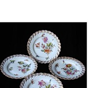 RARE Set of Four Muffin Plates - Hand Painted Dresden Flower Porcelain from Donath & Company