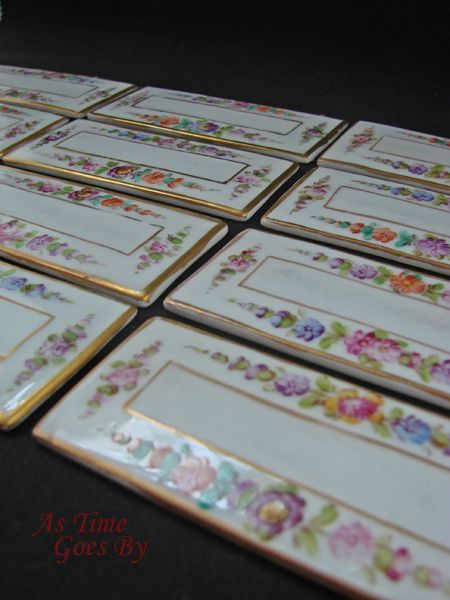 Dresden Hand Painted Porcelain Dining Place Cards - Weshner