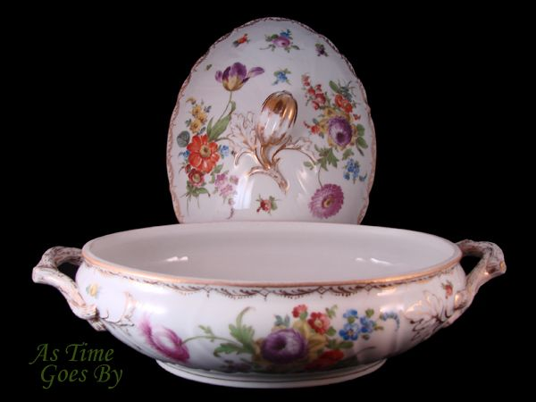 Dresden Hand Painted Covered Vegetable Server - Klemm