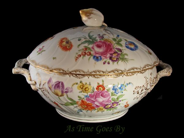Dresden Hand Painted Covered Soup Tureen - Klemm