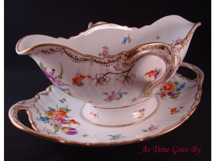 Dresden Hand Painted Gravy or Sauce Boat - Klemm