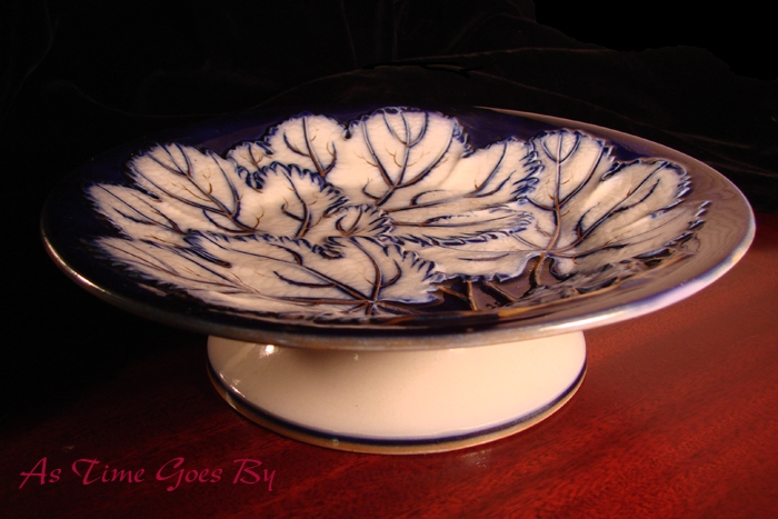 T Dimmock & Co Majolica Blue & White Comport