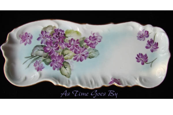 Signed Hand Painted T&V Limoges Violet Pin Tray