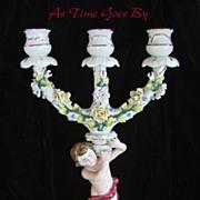 Hand Painted Dresden Flower Porcelain Cherub Candelabra