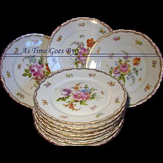 Hand Painted Set of Dresden Dessert Plates - Set of 10