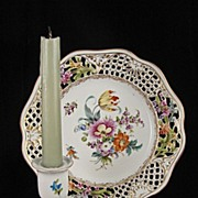 Carl Thieme Hand Painted Dresden Flower Candle Holder