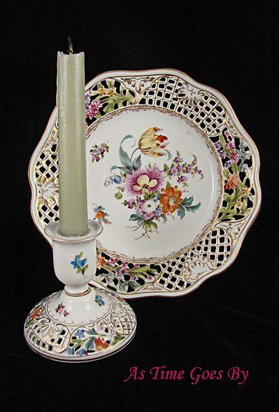 Carl Thieme Hand Painted Dresden Flower Candle Holder