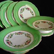 Hand Painted Porcelain Floral Dessert Set - 6 pieces