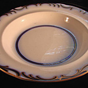 Davenport & Co 1800 Soup Plate, Cobalt Blue and Gold Brush Strokes