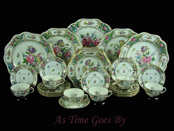 Hand Painted Reticulated Dresden Special Edition Porcelain Set - 33 pieces