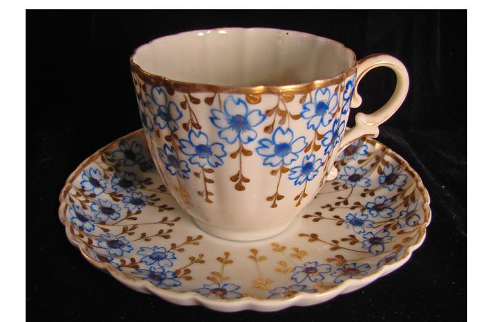 Early Antique Translucent Porcelain Cup and Saucer With Hand Painted Flowers and Gold Embellishments