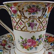 Hand Painted Dresden Flower Porcelain Chocolate Cup & Saucer - Thieme