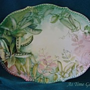Hand Painted Limoges Platter - Pea Pods