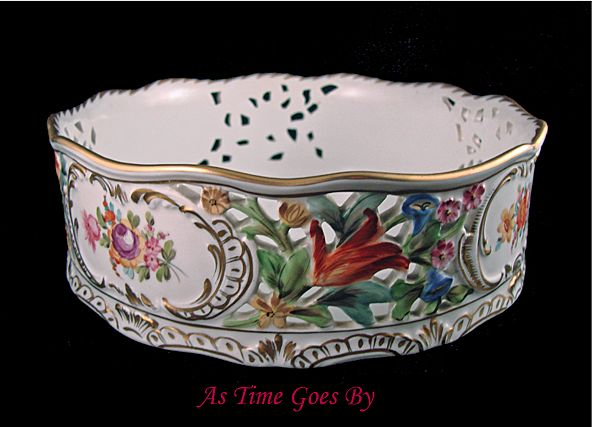 Carl Thieme Hand Painted Dresden Flowers Reticulated Centerpiece Bowl