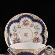 Carl Thieme Hand Painted Porcelain Cabinet Cup & Saucer - Rare!