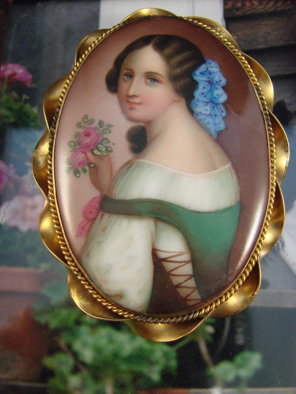 Victorian Hand Painted Portrait on Porcelain - Brooch