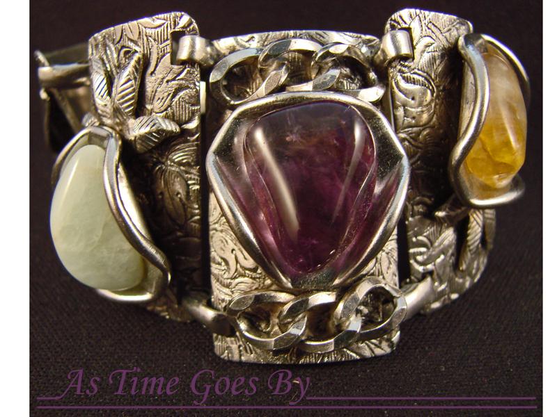 Mid Century Vintage Amethyst Nugget Bracelet